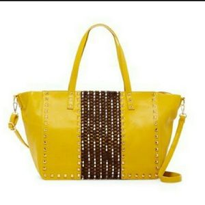 Oversized studded tote  with double handles and sh